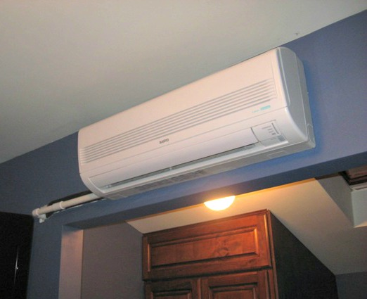 Chase for Ductless Air Conditioner :: Inside Unit, Inside Wall Lines Unfinished