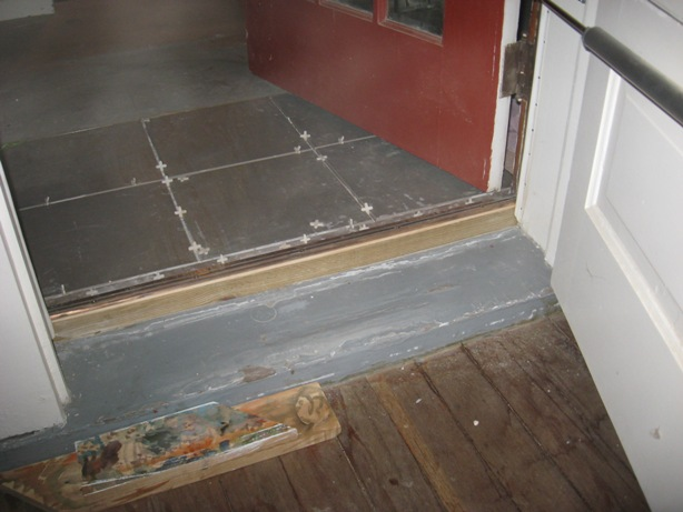 Installing a tile landing plus raising a door sill building moxie for How to install a threshold for an exterior door