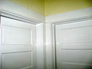 5 panel doors Likely original doors opposing and painted opposing doorways trim mated
