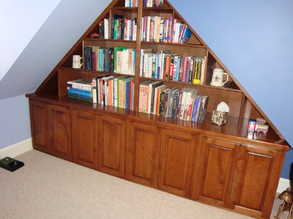 custom maple bookcase 3rd Floor Fells Point Baltimore rowhome