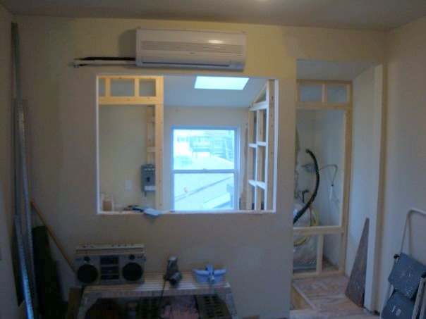 split system air condition unit installed 3rd floor Fells Point rowhome