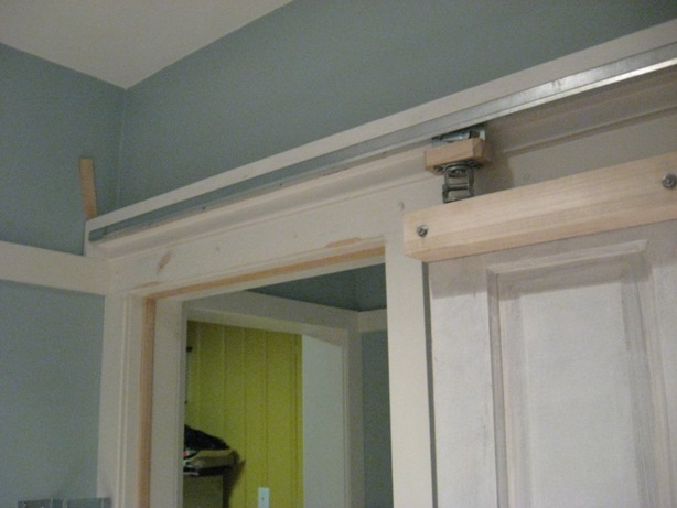 header and pocketless hardware and door installed without apron
