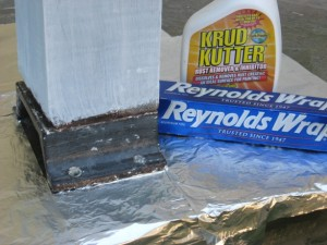 Reynolds Wrap and Krud Kutter Must for Rust used to remove rust from a column foot