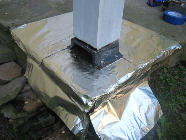 aluminum foil works well for protecting surfaces