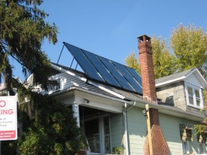 solar thermal :: thermal solar collectors on roof of home in Lauraville Baltimore