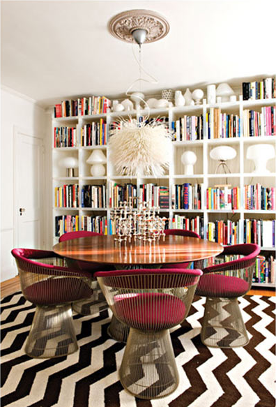 zip tie chandelier by Ed Istwan and vintage dining set from Warren Platner image via BaltimoreStyleMag