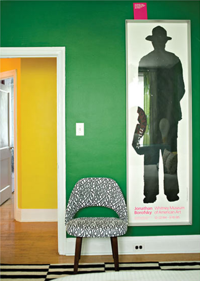 vibrant green walls chair covered in Saarinen print image via BaltimoreStyleMag