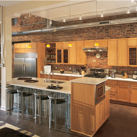 brick accented kitchen in converted Ridgely's Delight, Baltimore warehouse