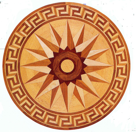 the Greek Key in a Wood Floor Medallion image provided by Regina Garay