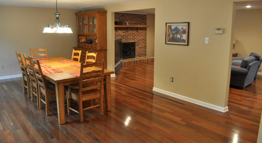 Superbe Dining Room To Family Room Brazilian Walnut Hardwood Floors