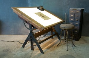 1920s Oak Iron Drafting Table Lit via Modern 50