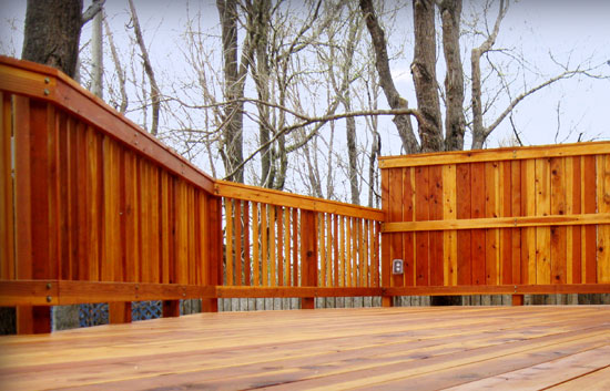 Redwood deck with shade railing