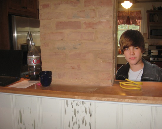 Justin Bieber Next to Chimney and Cherry Counter
