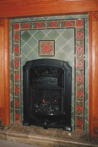 deco tile vintage wood stove surround