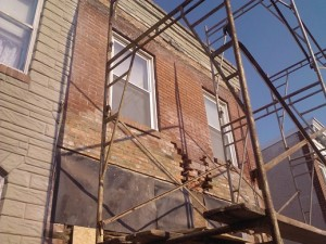 Formstone Removed Brick Repair in Progress Baltimore Rowhome