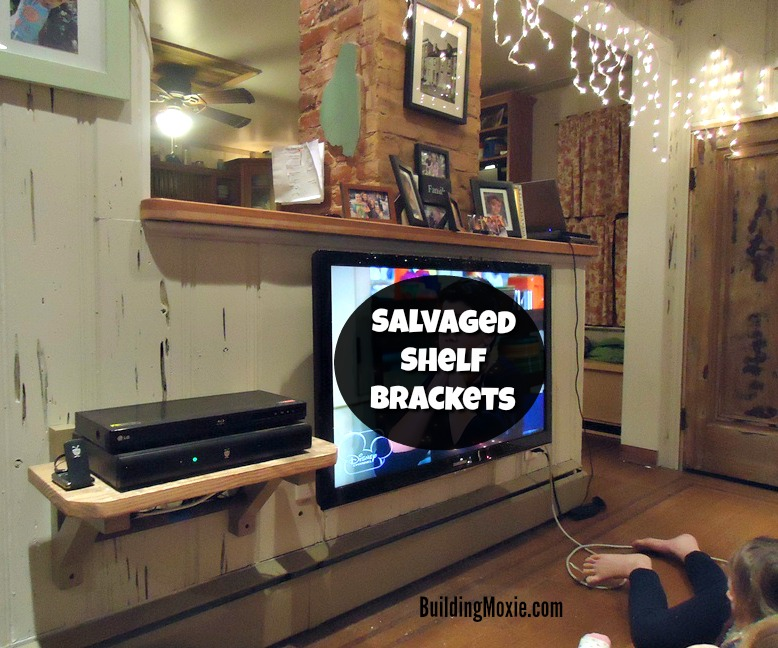 Repurposed Shelf Brackets From A Chair Installing To Hold Tv Components