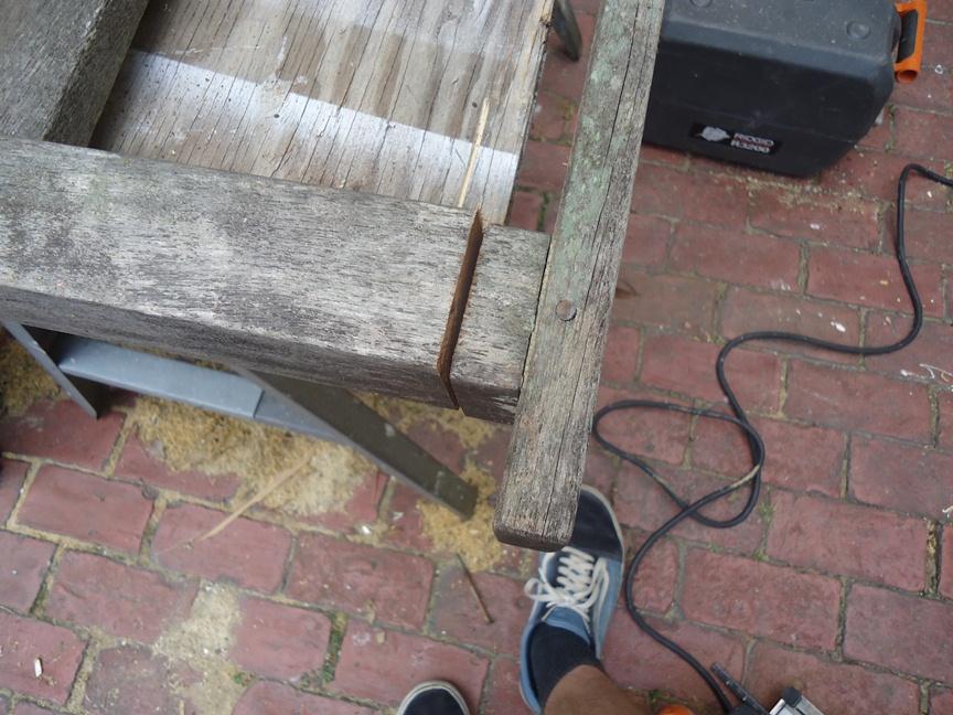Disassembling a Teak Patio Chair
