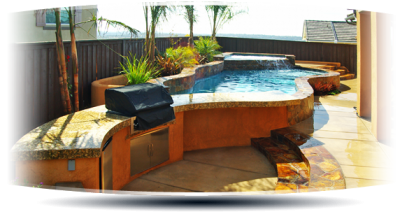 Stone Above Ground Pool Integrated Grill