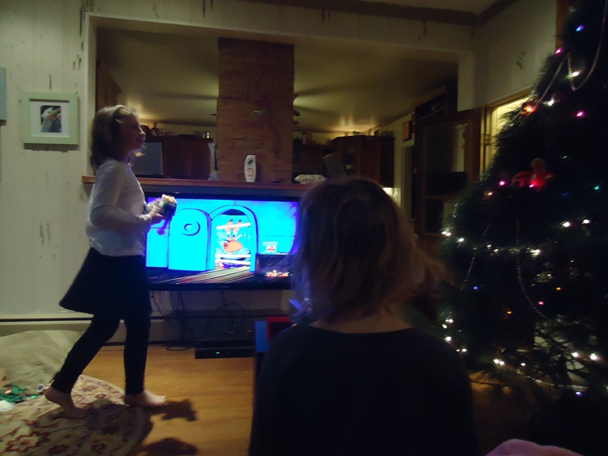 TV Cmponents Sitting on the Living Floor as we Decorate the Christmas Tree