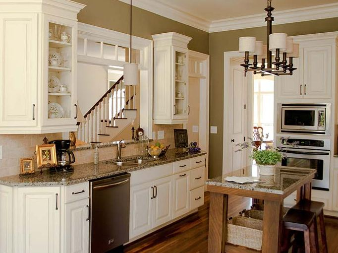 Open Kitchen Layout :: Transitional Kitchen Large Interior Wall Window  Image Via CliqStudios