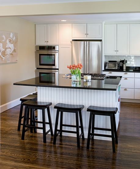 White and Black Kitchen with Large Island image via CliqStudios