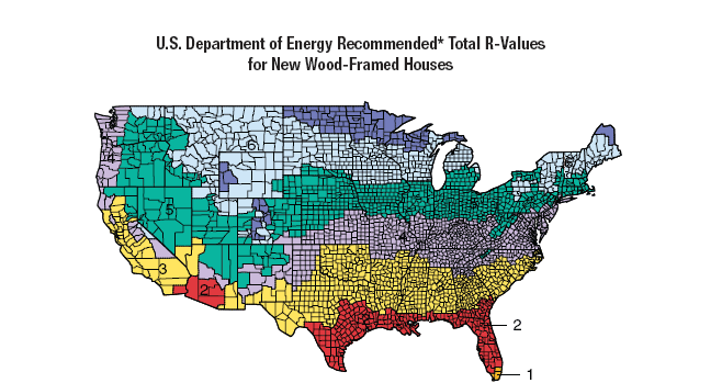 US Department of Energy Total R-Values for Wood-Framed Houses via DOE