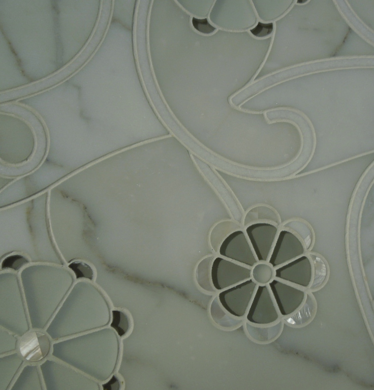 Glass and Stone Fused Tile in a Floral Pattern from Artistic Tile