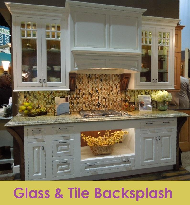 Glass and Tile Mixed BackSplash at KBIS