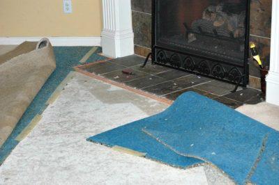 Removing Carpet :: Carpet Pad Dirty Floor