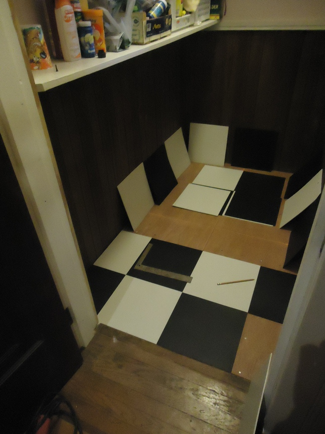 Laying Out All Checkerboard Tile Pantry