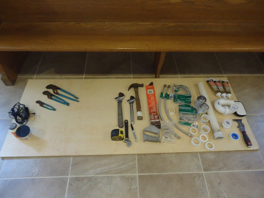 Tools and Materials for Faucet Install on a Vanity