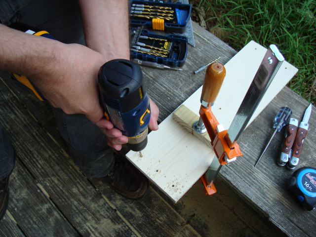 "Using the Ryobi 1/2"" 18V Cordless Drill to make a fastening pattern in a scant."