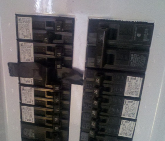 eletrical tape over breaker during workeletrical tape over breaker during work