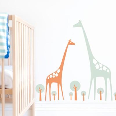 Giraffe Family Kids Wall Decals