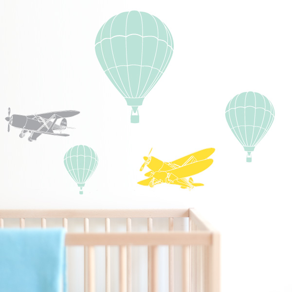 Plane Balloon Kids Wall Decals with Crib