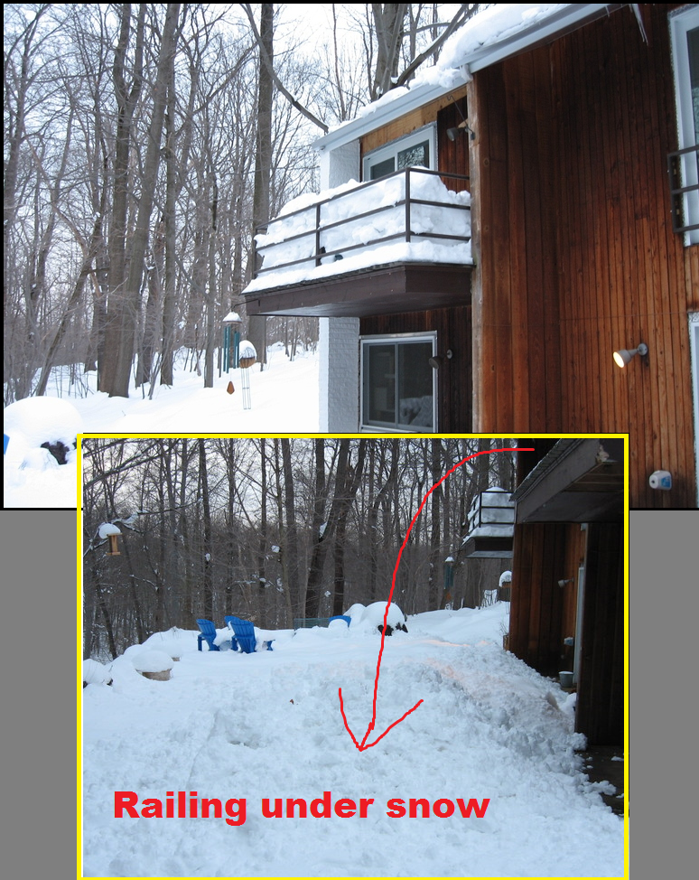 Removing Snow from a Porch with a Contemporary Railing