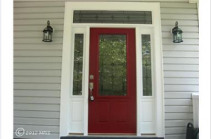 Flipping Houses :: Red Front Door with Transom and Sidelights