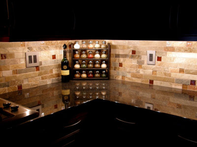 Kitchen Backsplash at night