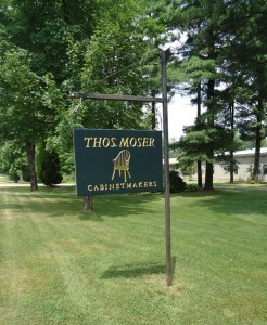 Thos. Moser Cabinetmakers :: Thos Moser Signature logo sign at shop Auburn, ME