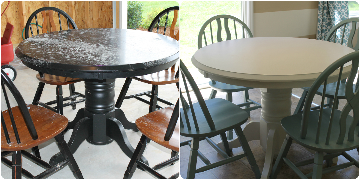 Refinishing Furniture With Paint Before And After Refinished Table