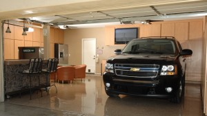 Garage Floor Coating Options :: UV stable polyurethane color coat polyurethane clear coat with heavy chip spread