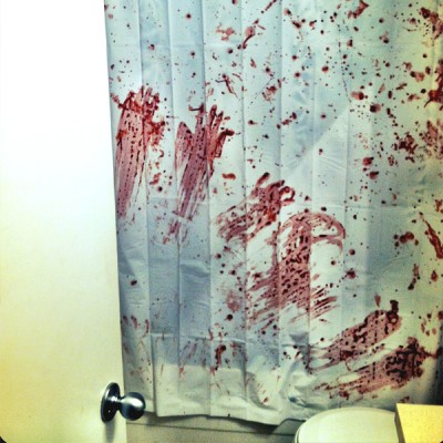 Halloween Decorating :: Slasher Bathroom Shower Curtain