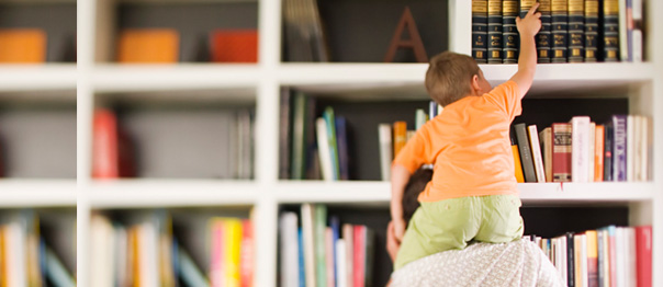 Bookcases Boy on Dad's Shoulders from Home Rehab