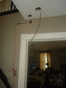 electrical work low ceiling staiwell