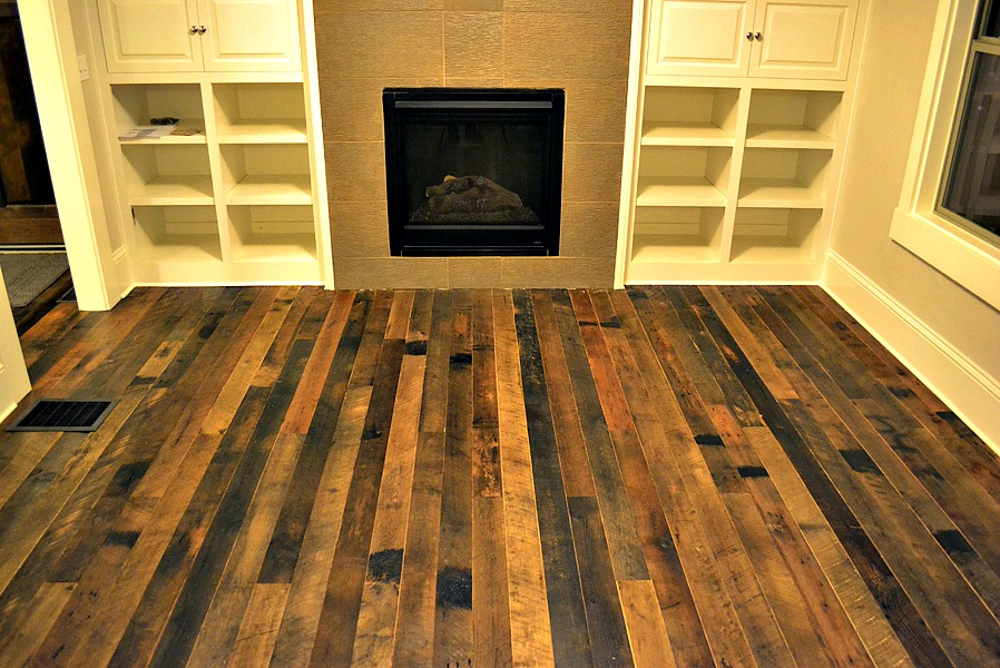 The pros and cons of reclaimed wood building moxie for Recycled hardwood floors