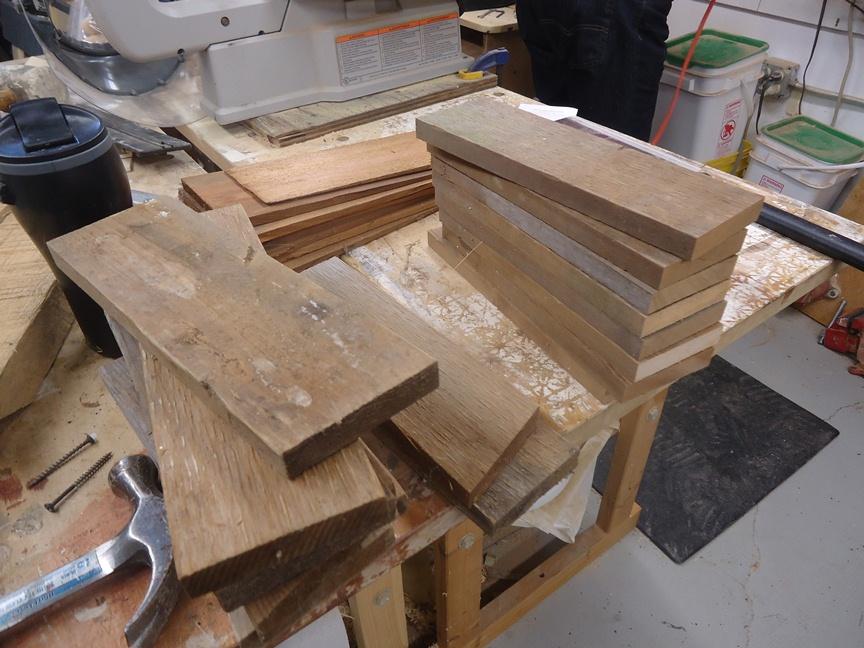 clean cutting the ends of cedar scrap