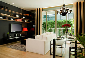 open contemporary Living Room via Signature Furniture Rental