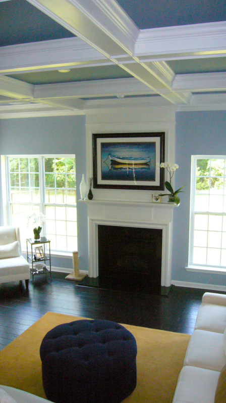 Donna Frasca Coffered Blue Living Room