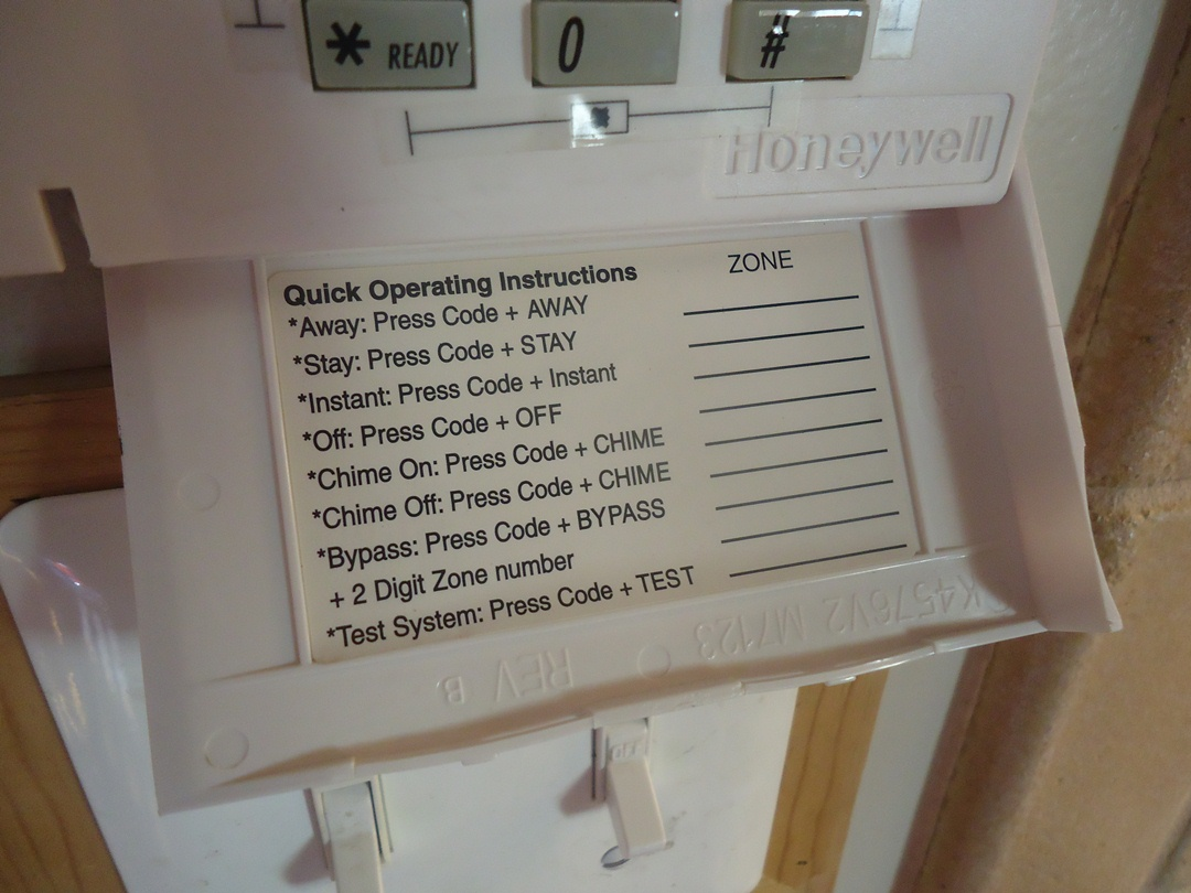 blank label inside security system keypad
