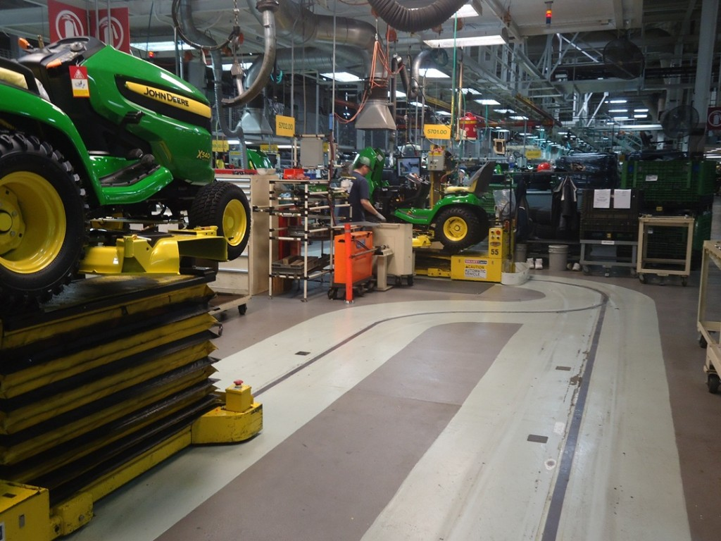 tractors moved along floor conveyors John Deere Horicon Works